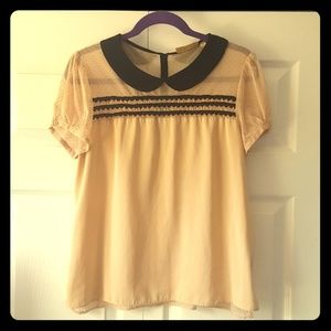 Vera Wang Peter Pan Collar Lace Top